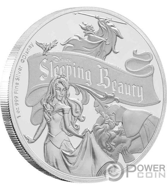 SLEEPING BEAUTY 60 Jahrestag Dornröschen Disney 1 Oz Silber Münze 2$ Niue 2019