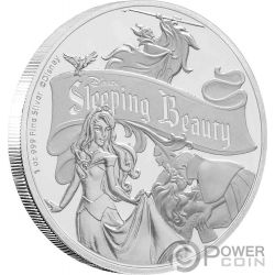 SLEEPING BEAUTY 60 Anniversario Bella Addormentata Disney 1 Oz Moneta Argento 2$ Niue 2019