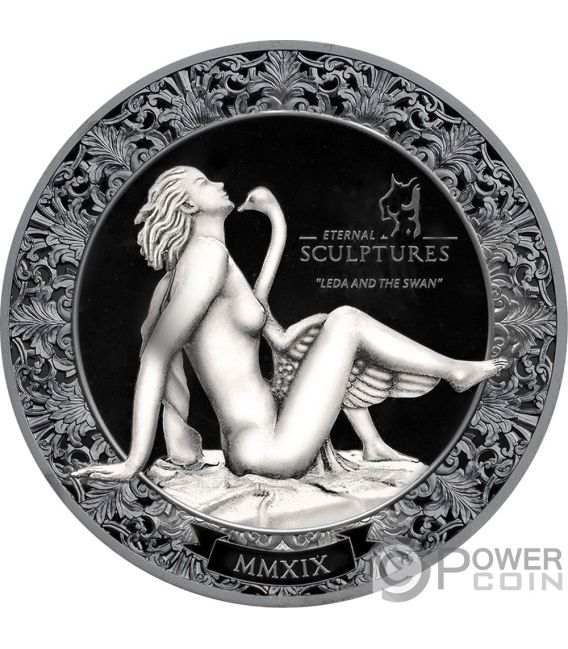 LEDA AND SWAN Eternal Sculptures 2 Oz Silver Coin 10$ Palau 2019