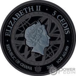GALILEO GALILEI Pallamant Treasures Universe 1 Oz Серебро Монета 5 Cеди Гана 2018