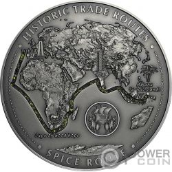 SPICE ROAD Gewürzroute Historic Trade Routes 5 Oz Silber Münze 5000 Franken Cameroon 2019