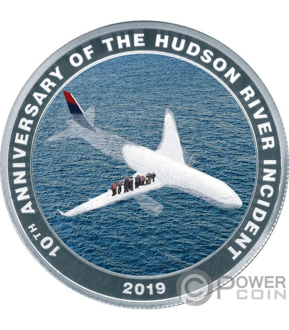MIRACLE ON THE HUDSON Sully Milagro 10 Aniversario Moneda Plata 1$ Cook Islands 2019