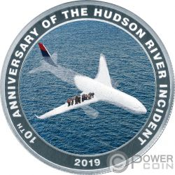 MIRACLE ON THE HUDSON Sully Miracolo 10 Anniversario Moneta Argento 1$ Cook Islands 2019