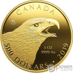 GOLDEN EAGLE Aquila Birds of Prey 5 Oz Moneta Oro 500$ Canada 2019