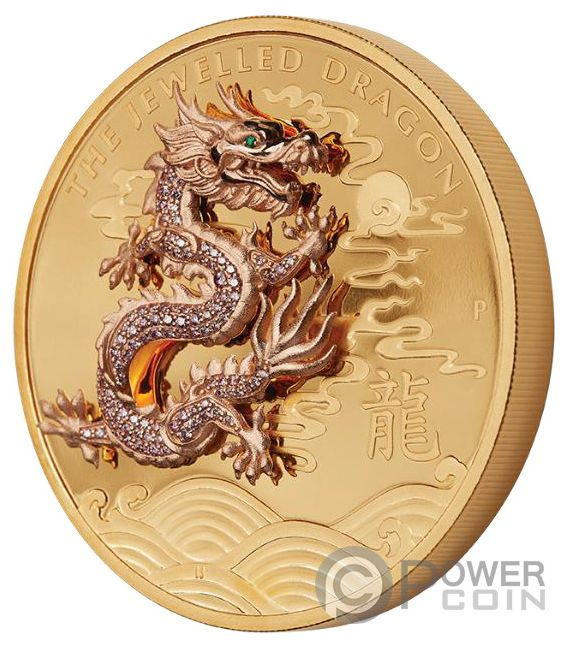 Jewelled Dragon Argyle Pink Diamonds 10 Oz Gold Coin 2000