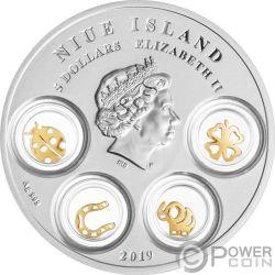 GOOD LUCK CHARMS Ciondoli Portafortuna Moneta Argento 5$ Niue 2019