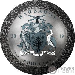 MOON LANDING 50th Anniversary 1 Oz Серебро Монета 5$ Барбадос 2019