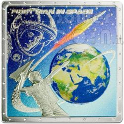 GAGARIN YURI First Space Traveller Серебро Монета 1$ Острова Кука 2011