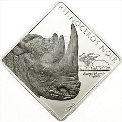 RINOCERONTE NERO Rare Wildlife Moneta Argento 2 Oz 1500 Francs Camerun 2010