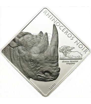 BLACK RHINO Rhinoceros Rare Wildlife 2 Oz Silver Proof Coin 1500 Francs Cameroon 2010