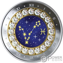 PISCES Piscis Zodiac Swarovski Crystal Moneda Plata 5$ Canada 2019
