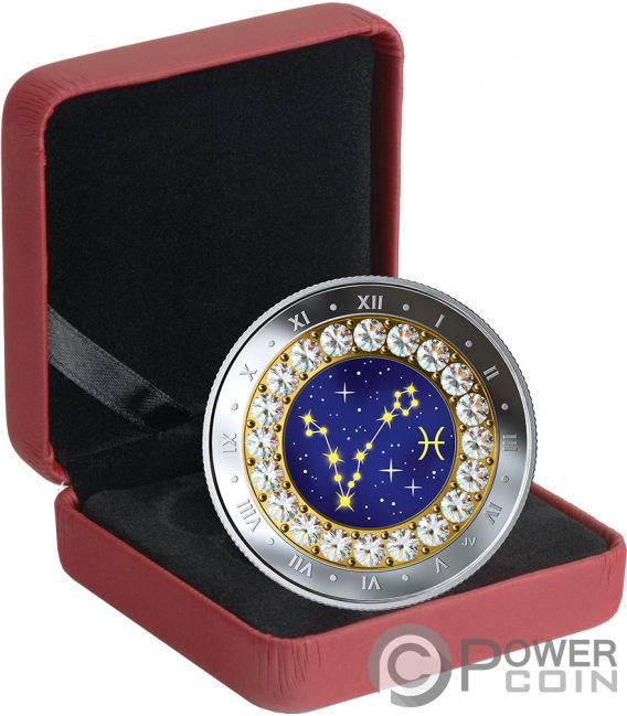 PISCES Zodiac Swarovski Crystal Silver Coin 5$ Canada 2019