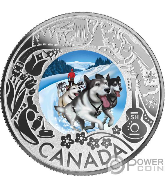 DOGSLEDDING Fun and Festivities Silver Coin 3$ Canada 2019