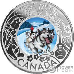 DOGSLEDDING Hundeschlittenfahrt Fun and Festivities Silber Münze 3$ Canada 2019