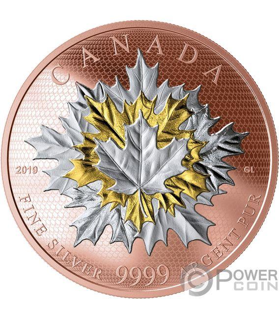 MAPLE LEAVES IN MOTION Ahornblatt in Bewegung 5 Oz Silber Münze 50$ Canada 2019