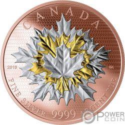 MAPLE LEAVES IN MOTION Foglia Acero in Movimento 5 Oz Moneta Argento 50$ Canada 2019