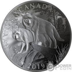 WOLVES Lupi Natures Grandeur Forma Curva 10 Oz Moneta Argento 100$ Canada 2019
