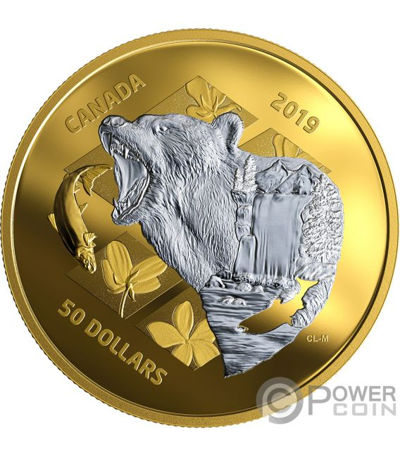 GRIZZLY BEAR My Inner Nature 5 Oz Silver Coin 50$ Canada 2019