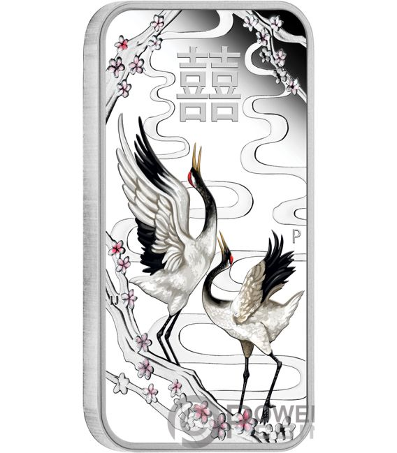 CHINESE WEDDING Crane 1 Oz Silver Coin 1$ Tuvalu 2019