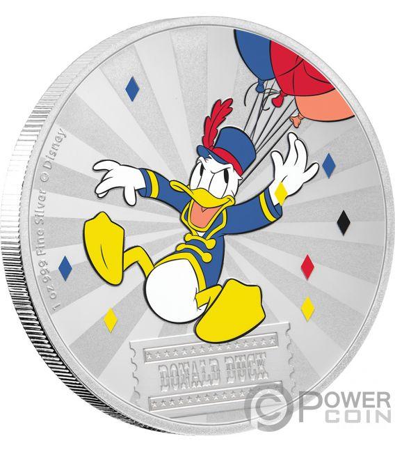 DONALD DUCK Friends Carnival Disney 1 Oz Silver Coin 2$ Niue 2019