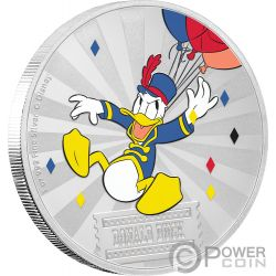 DONALD DUCK Paperino Friends Carnival Disney 1 Oz Moneta Argento 2$ Niue 2019