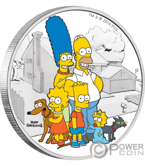 FAMILY Simpsons 2 Oz Silver Coin 2$ Tuvalu 2019