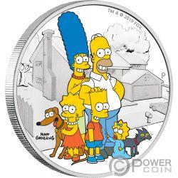 FAMILY Famiglia Simpsons 2 Oz Moneta Argento 2$ Tuvalu 2019