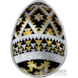 VEGREVILLE PYSANKA Easter Golden Spring Egg Shape Folk Art 1 Oz Silver Coin 20$ Canada 2019
