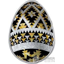 VEGREVILLE PYSANKA Pasqua Golden Spring Forma Uovo Arte Popolare 1 Oz Moneta Argento 20$ Canada 2019