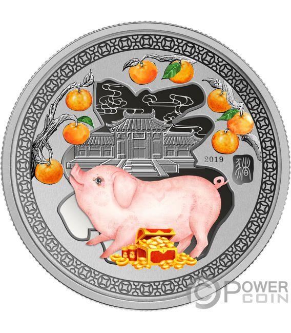 YEAR PIG Cerdo Happiness Lunar 1/2 Oz Moneda Plata 1$ Solomon Islands 2019