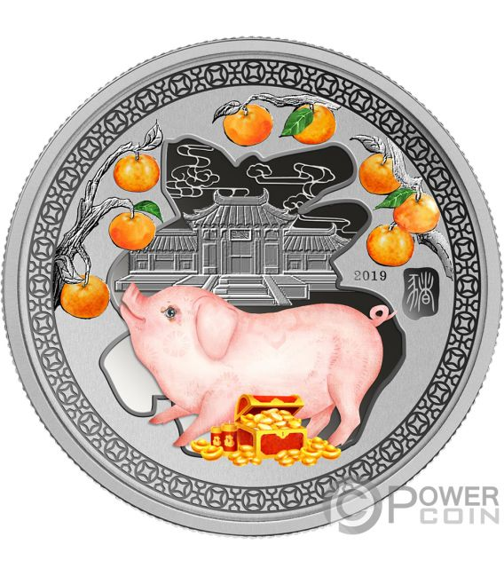 YEAR PIG Happiness Lunar 1/2 Oz Silver Coin 1$ Solomon Islands 2019