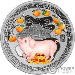 YEAR PIG Maiale Happiness Lunar 1/2 Oz Moneta Argento 1$ Solomon Islands 2019