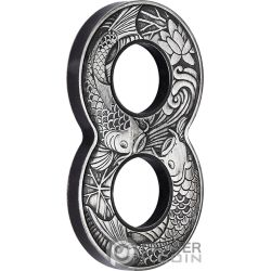 FIGURE EIGHT KOI FISH Figura Ocho Carpa 2 Oz Moneda Plata 2$ Australia 2019