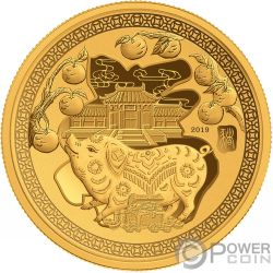 YEAR PIG Happiness Lunar Gold Plated Coin 50 Cents Solomon Islands 2019