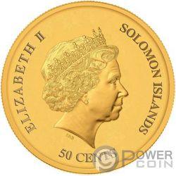YEAR PIG Cerdo Happiness Lunar Moneda Chapada Oro 50 Centavos Solomon Islands 2019