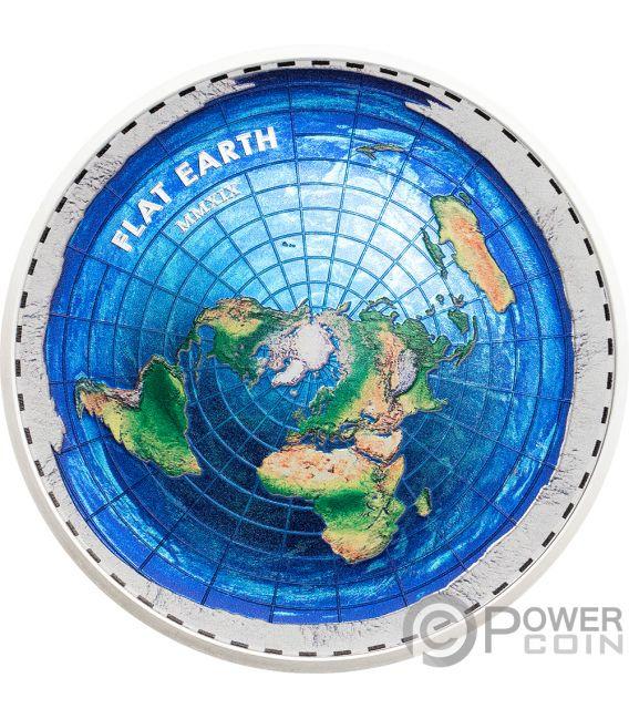 FLAT EARTH Great Conspiracies 2 Oz Silver Coin 10$ Palau 2019