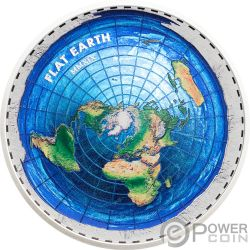 FLAT EARTH Tierra Plana Great Conspiracies 2 Oz Moneda Plata 10$ Palau 2019
