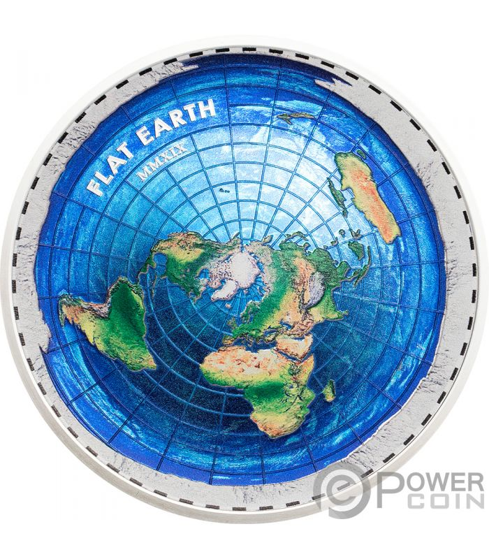 Flat Earth Great Conspiracies 2 Oz Silver Coin 10 Palau