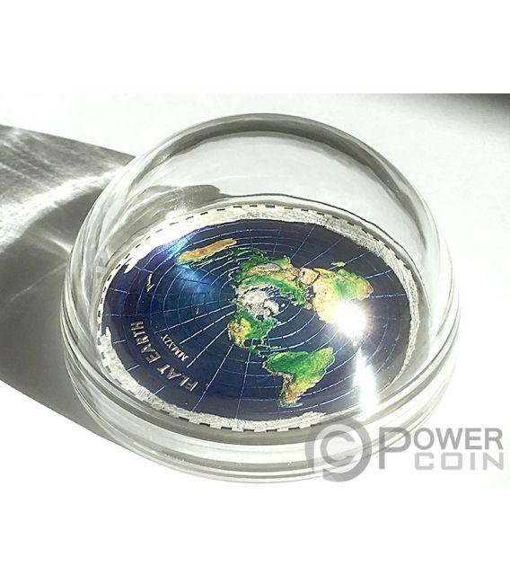 FLAT EARTH Terra Piatta Great Conspiracies 2 Oz Moneta Argento 10$ Palau 2019
