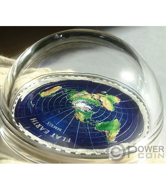 FLAT EARTH Плоская Земля Great Conspiracies 2 Oz Монета Серебро 10$ Палау 2019
