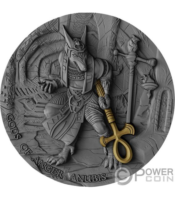 ANUBIS Gods of Anger 2 Oz Moneda Plata 5$ Niue 2019