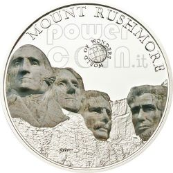 MONTE RUSHMORE World Of Wonders Moneta Argento 5$ Palau 2011