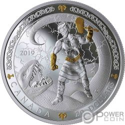 THOR Norse Gods 1 Oz Монета Серебро 20$ Канада 2019
