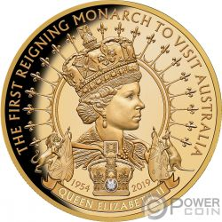 QUEEN ELIZABETH II Diamante 1 Oz Moneda Oro 100$ Niue 2019