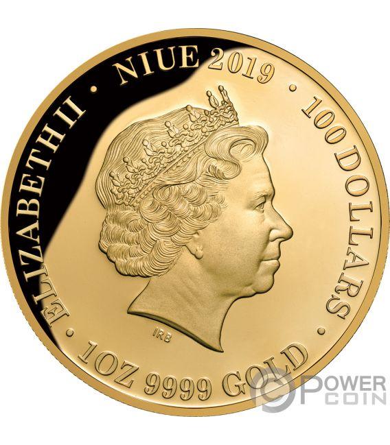 QUEEN ELIZABETH II Diamante 1 Oz Moneda Oro 100$ Niue 2019