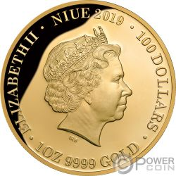 QUEEN ELIZABETH II Diamante 1 Oz Moneta Oro 100$ Niue 2019