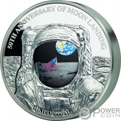 MOON LANDING Mondlandung Apollo 50 Jahrestag Konvex 1 Kg Kilo Silber Münze 25$ Barbados 2019