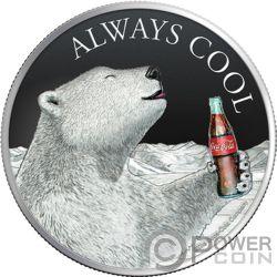 COCA COLA Северный Медведь Always Cool 1 Oz Монета Серебро 2$ Фиджи 2019