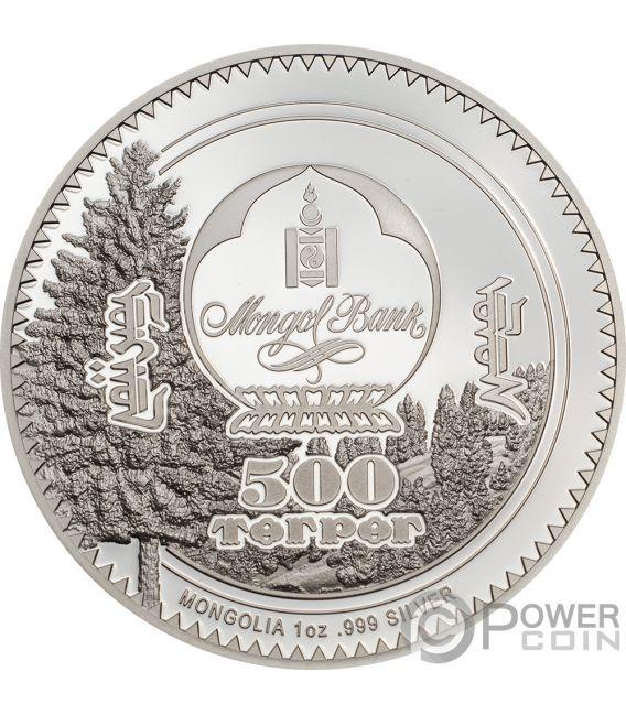 RABBIT Conejo Woodland Spirit 1 Oz Moneda Plata 500 Togrog Mongolia 2019