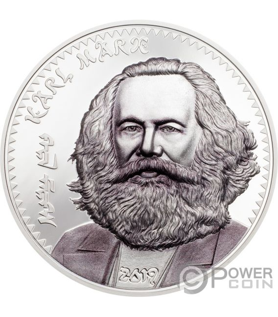 KARL MARX 1 Oz Silver Coin 1000 Togrog Mongolia 2019